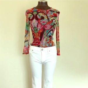 *RARE* Vintage Escada Floral/Abstract Mesh Top